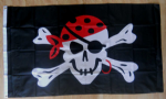 Pirate One Eyed Jack Large Flag - 5' x 3'.